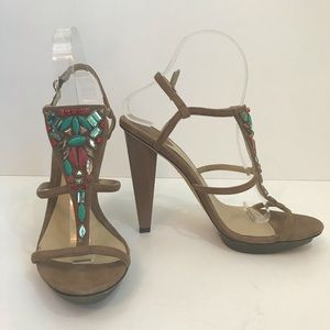 Brian Atwood Jeweled Strappy Heel Sz 8.5 Leather